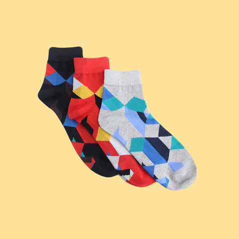 Pack of 3 Socks (Unisex): Edges & Colours I