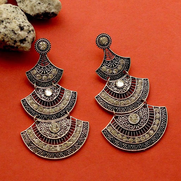 Oxidized Fan Shaped Earrings
