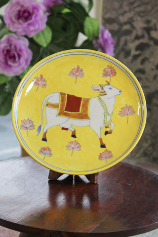 Yellow Cow Blue Pottery Plate
