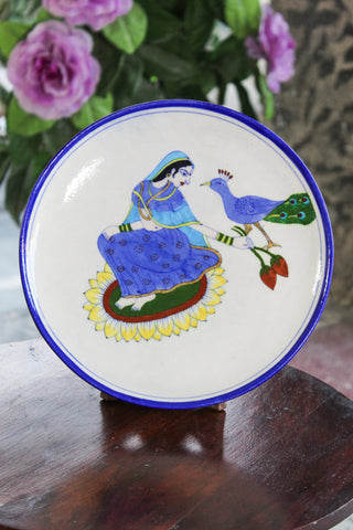Blue Pottery Queen & Peacock Plate
