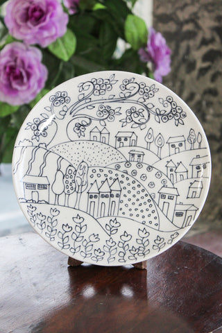 Blue Pottery White Village Plate