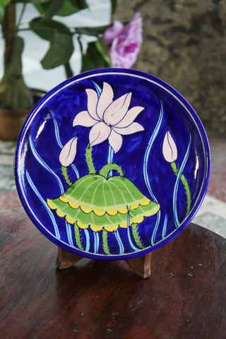 Blue Pottery Blue Lotus Flower Plate
