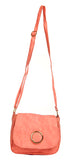 Envie Faux Leather Solid Peach Magnetic Snap Crossbody Bag -4