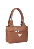 Aliado   Faux Leather Coffee Brown Zipper Closure Formal Handbag