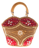 Envie Faux Leather Embellished Maroon Coloured Zipper Closure Handbag