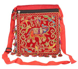 Aliado Red and Mutli Coloured Cloth Fabric Embroidered Sling Bag