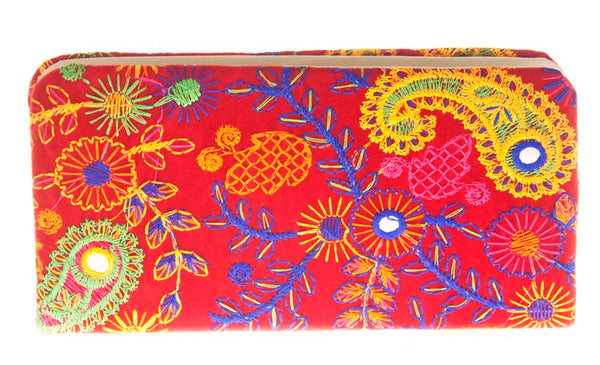 Envie Cloth/Textile/Fabric Embroidered Red & Multi Zipper Closure Clutch