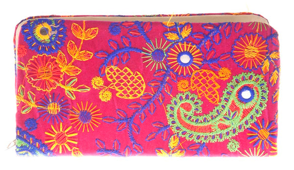 Envie Cloth/Textile/Fabric Pink & Multi Zipper Closure Embroidered Clutch for Women