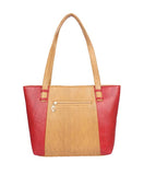 Aliado  Faux Leather Beige and Red Coloured Zipper Closure Formal Bag