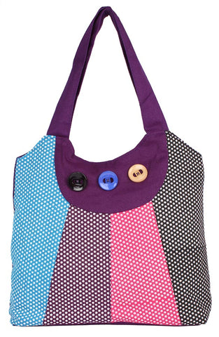 Aliado Cloth Fabric Purple and Multi Coloured Zipper Closure Handbag - 1