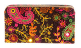 Envie Cloth/Textile/Fabric Embroidered Black & Multi Zipper Closure Clutch for Women