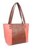 Aliado Faux Leather Brown  and Pink Coloured Zipper Closure Handbag