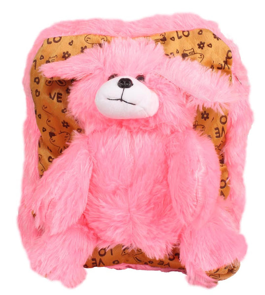 Envie Faux Fur   Baby Pink  and Brown Coloured Zipper   Closure Backpack