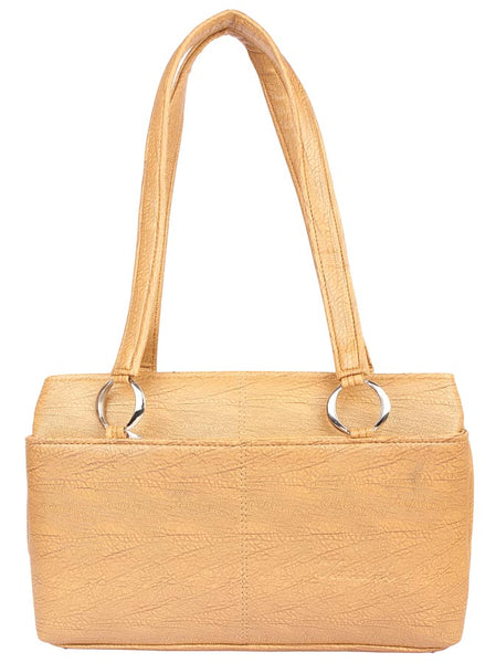 Aliado Faux Leather Beige Zipper Closure Tote Bag