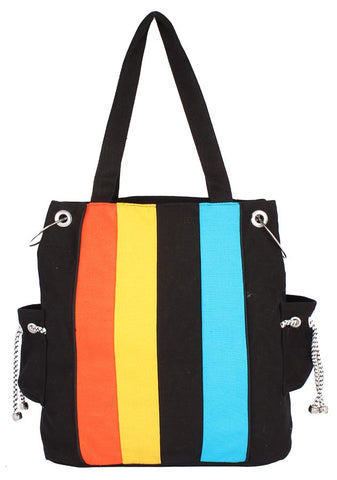 Aliado Cloth Fabric Black and Multi Coloured Zipper Closure Handbag - 1