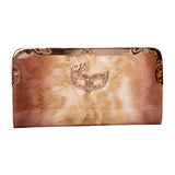 Envie Faux Leather Brown Coloured Zipper Closure Embellished Clutch