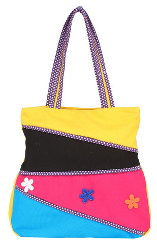 Aliado Cloth Fabric Yellow and Multi  Coloured Zipper Closure Handbag - 1