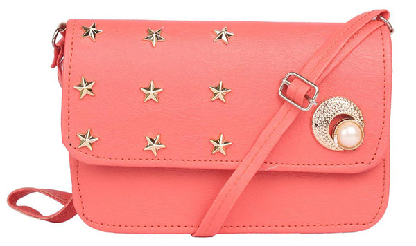 Envie Faux Leather Peach Embellished Magnetic Snap Sling Bag - 1