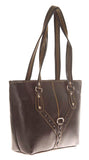 Aliado Faux Leather Solid Black Zipper Closure Tote Bag - 2