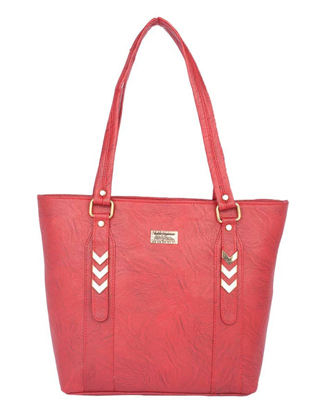 Aliado Faux Leather Magenta Zipper Closure Tote Bag