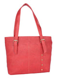 Aliado Faux Leather Magenta Coloured Zipper Closure Tote Bag - 2