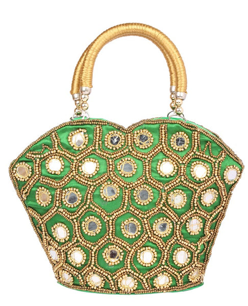 Envie Cloth/Textile/Fabric Embellished Green Coloured Zipper Closure Handbag