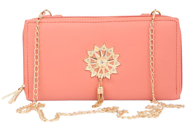 Envie Faux Leather Embellished Peach Zipper Closure Crossbody Sling Bag