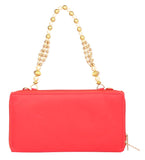 Envie Faux Leather Embellished Red Zipper Closure Crossbody Bag - 1