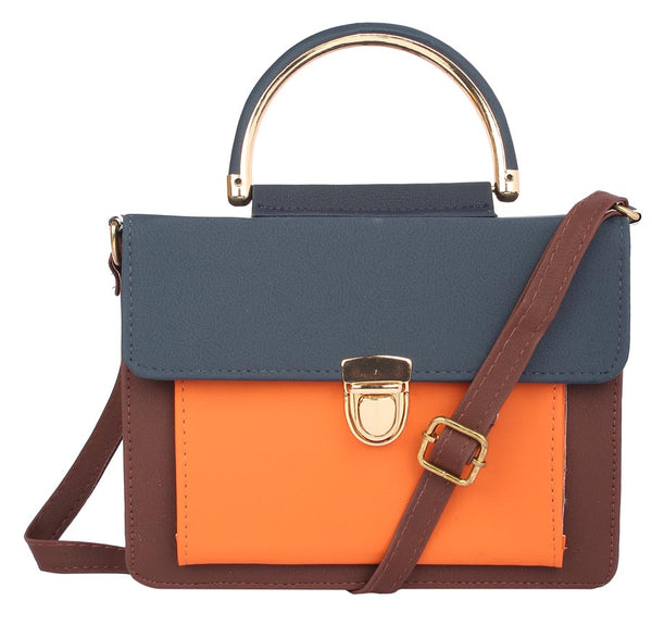 Envie Faux Leather Solid Brown & Navy Blue & Orange Tuck Lock Sling Bag