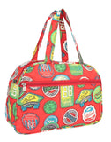 Aliado Cloth/Textile/Fabric Printed Red & Multi Coloured Zipper Closure Handbag
