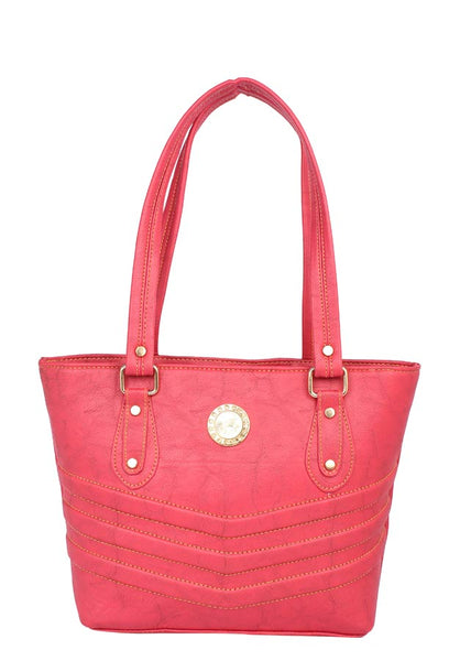 Aliado Faux Leather Pink Coloured Zipper Closure Handbag - 1
