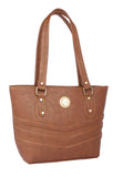 Aliado Faux Leather Coffee Brown Zipper Closure Tote Bag - 1