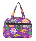 Aliado Cloth/Textile/Fabric Printed Purple and Multi Coloured Zipper Closure Handbag