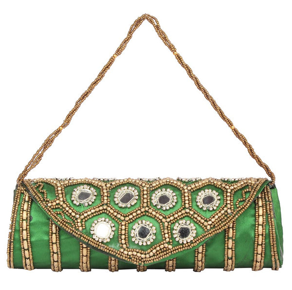 Envie Cloth/Textile/Fabric Embellished Green Magnetic Snap Fold Over Clutch