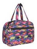 Aliado Cloth/Textile/Fabric Printed Multi & Blue Coloured Zipper Closure Handbag