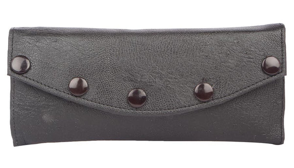 Envie Faux Leather Solid Black Fold Over Magnetic Snap Clutch