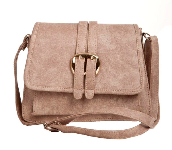 Envie Faux Leather Solid Grey Magnetic Snap Sling Bag