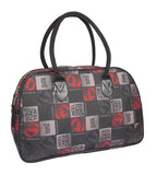 Aliado Cloth/Textile/Fabric Printed Black Coloured Zipper Closure Handbag