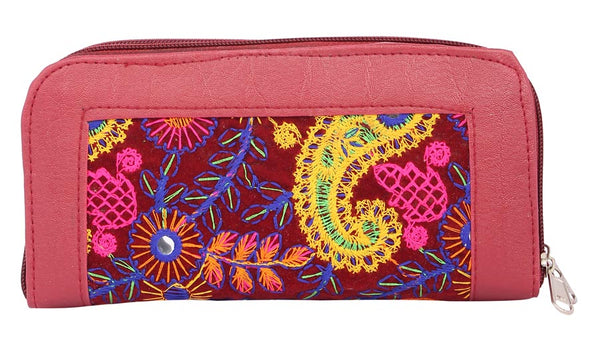 Envie Faux Leather Peach & Maroon Zipper Closure Embroidered Clutch