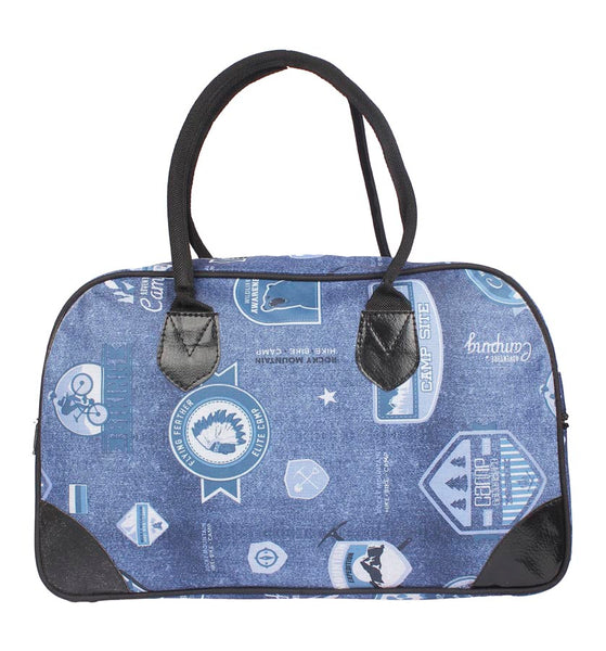Aliado Cloth/Textile/Fabric Printed Blue Coloured Zipper Closure Handbag