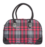 Aliado Cloth/Textile/Fabric Printed Magenta & Black Zipper Closure Handbag