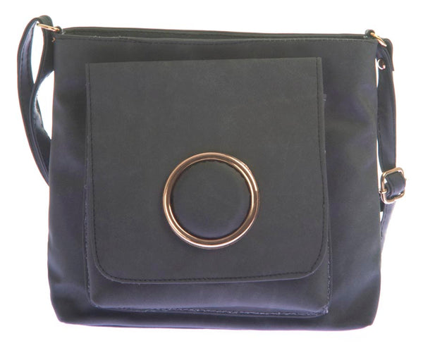 Envie Faux Leather Solid Black Zipper Crossbody Bag