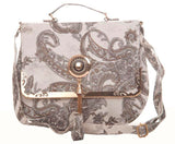 Envie Faux Leather Printed White & Black Magnetic Snap Sling Bag