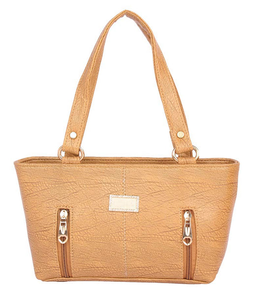 Aliado Faux Leather     Beige      Coloured Zipper Closure Tote Bag