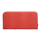 Envie Faux Leather Peach Magnetic Snap Lock Croc Pattern Minaudiere Clutch