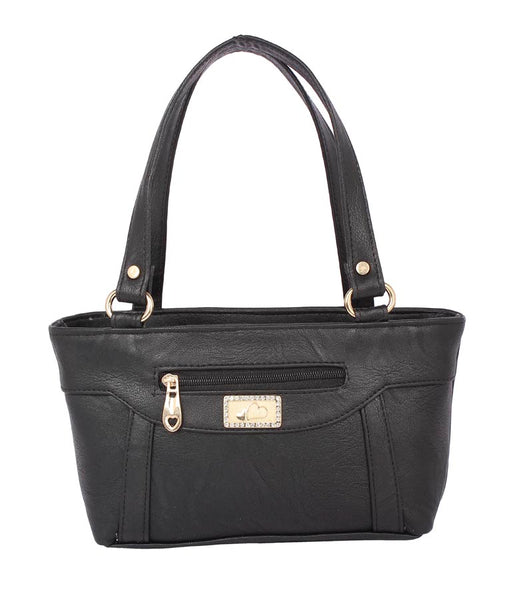 Aliado Faux Leather Black Coloured Zipper Closure Handbag - 8