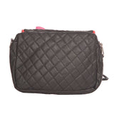 Envie Faux Leather Black Zipper Closure Quilted Pattern Crossbody Bag