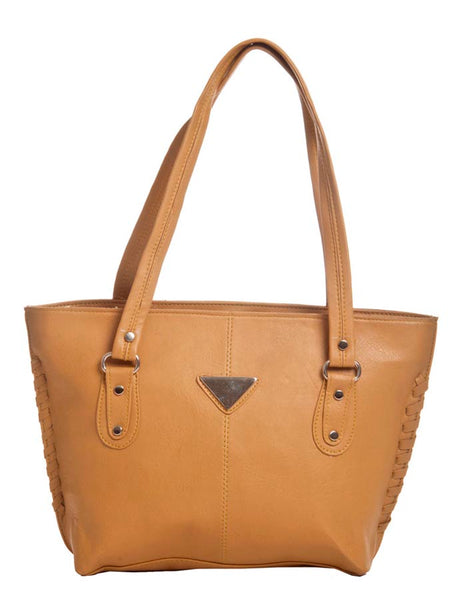 Aliado Faux Leather Solid Beige Zipper Closure Tote Bag - 2