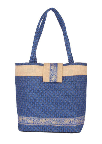 Aliado Jute Blue Coloured Zipper Closure Bag - 1