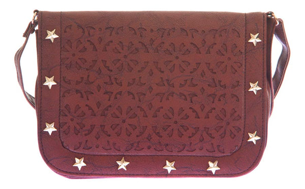Envie Faux Leather Coffee Brown Embellished Magnetic Snap Sling Bag